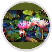 Waterlilies 8 Round Beach Towel