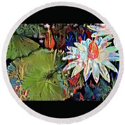 Waterlilies 9 Round Beach Towel