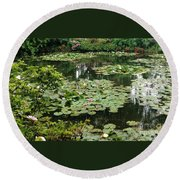 Waterlilies At Monet's Gardens Giverny Round Beach Towel by Therese Alcorn