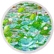 Round Beach Towel featuring the painting Waterlily Blossoms On The Protected Forest Lake by Lanjee Chee