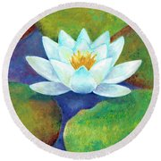 Round Beach Towel featuring the painting Waterlily by Elizabeth Lock