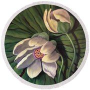 Round Beach Towel featuring the painting Waterlily Like A Clock by Randol Burns