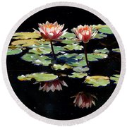 Round Beach Towel featuring the painting Waterlily Panorama by Marilyn Smith