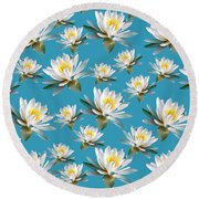 Round Beach Towel featuring the mixed media Waterlily Pattern by Christina Rollo