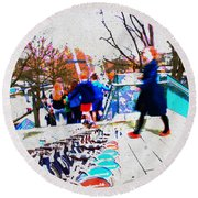 Waterloo Street Scene Round Beach Towel