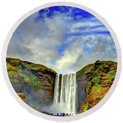 Round Beach Towel featuring the photograph Watermall And Mist by Scott Mahon