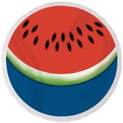 Watermelon Slice - Blue Background Round Beach Towel
