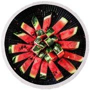 Watermelon Sun Round Beach Towel by Edgar Laureano