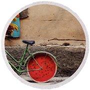 Watermelon Wheels Round Beach Towel