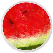 Watermelon With Three Seeds Round Beach Towel