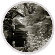 Round Beach Towel featuring the painting Watermill Deep In The Forest by Odon Czintos