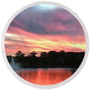Waters Aflame Round Beach Towel