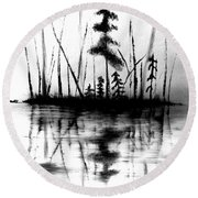 Round Beach Towel featuring the painting Waters Edge by Denise Tomasura