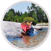 Round Beach Towel featuring the painting Waters Edge by Kenneth M Kirsch