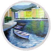 Round Beach Towel featuring the painting Waters Of Portofino  by Larry Cirigliano