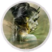 Waters Of The Whispered Sole Round Beach Towel