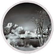 Round Beach Towel featuring the painting Waterside Still Life by Odon Czintos