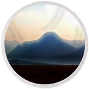 Waterton - Mountain Panorama Round Beach Towel by Stuart Turnbull