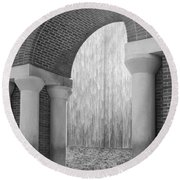 Waterwall And Arch 3 In Black And White Round Beach Towel