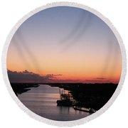 Waterway Sunset #1 Round Beach Towel