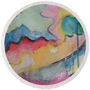 Round Beach Towel featuring the digital art Watery Abstract by Susan Stone