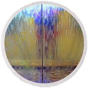 Round Beach Towel featuring the photograph Watery Rainbow Abstract by Nareeta Martin