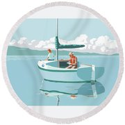 Wating For The Wind Round Beach Towel