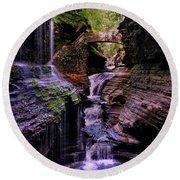 Watkins Glen State Park - Rainbow Falls 002 Round Beach Towel by George Bostian