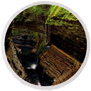 Watkins Glen State Park - Rainbow Falls 003 Round Beach Towel by George Bostian