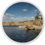 Watson Lake Panorama Round Beach Towel