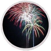 Waukesha Fireworks 01 Round Beach Towel