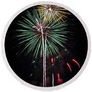 Waukesha Fireworks 02 Round Beach Towel
