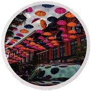 Wausau's Downtown Umbrellas Round Beach Towel