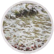 Round Beach Towel featuring the painting Wave And Colorful Pebbles by Martin Davey