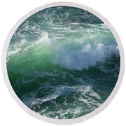 Wave At Montana De Oro Round Beach Towel by Michael Rock