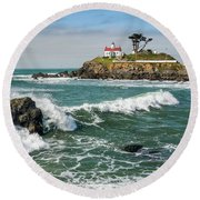 Wave Break And The Lighthouse Round Beach Towel by Greg Nyquist