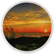 Wave Break Sunrise Round Beach Towel by Tom Claud