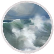 Wave Breakers Round Beach Towel by Anthony Fishburne