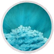 Round Beach Towel featuring the painting Wave Cloud - Sky And Clouds Collection by Anastasiya Malakhova