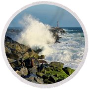 Wave Crash At The Wedge Round Beach Towel