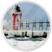 Wave Crashing On Snow-covered South Round Beach Towel