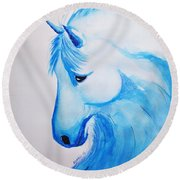 Round Beach Towel featuring the painting Wave Horse by Edwin Alverio