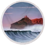 Wave In Bakio Round Beach Towel