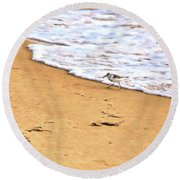 Round Beach Towel featuring the photograph Wave Runner by Jan Amiss Photography