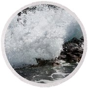Wave Smash Round Beach Towel