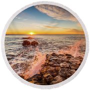 Round Beach Towel featuring the photograph Wave Splashes by Gary Gillette