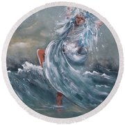 Wave Within Round Beach Towel