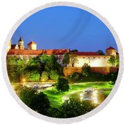 Round Beach Towel featuring the photograph Wavel Castle by Fabrizio Troiani
