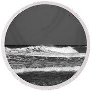 Waves 2 In Bw Round Beach Towel