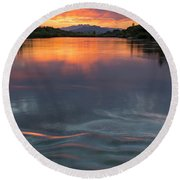 Waves Across The River Round Beach Towel